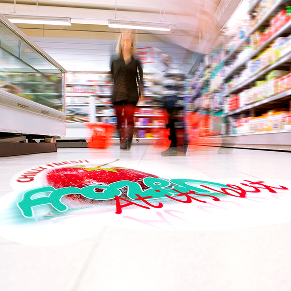 SpotOn Floor 200 non-slip floor graphics has R-10 anti-slip rating for slip-resistant floor graphics