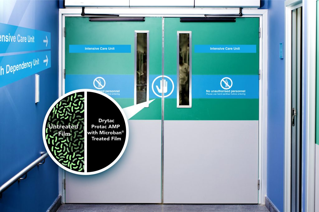 Drytac Protac AMP Film with Microban protecting a hospital door from the growth of stain and odour causing bacteria and mould.